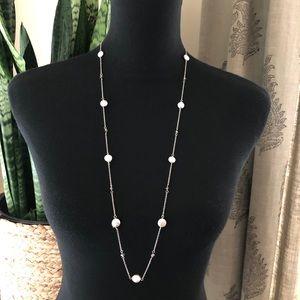 NWT Banana Republic Silver Tone Long Gray Necklace